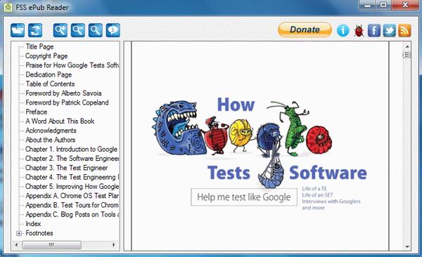 Click to view FSS ePub Reader 1.0.8.8 screenshot