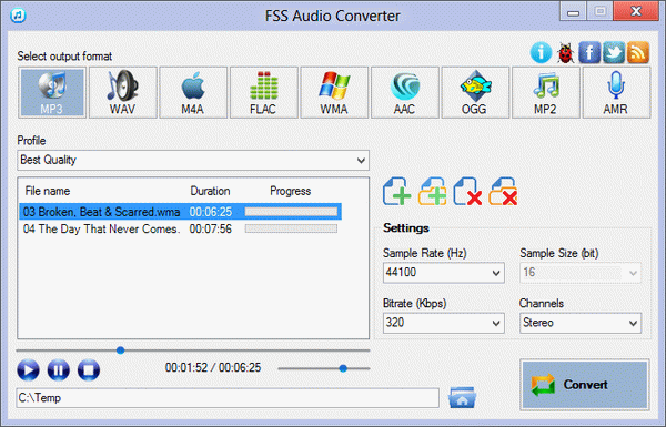 Click to view FSS Audio Converter 2.3.0.2 screenshot